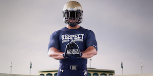 "Notre Dame and Navy will wear the same underlayer and gloves in Saturday's game, with the ""Respect. Honor. Tradition."" theme."